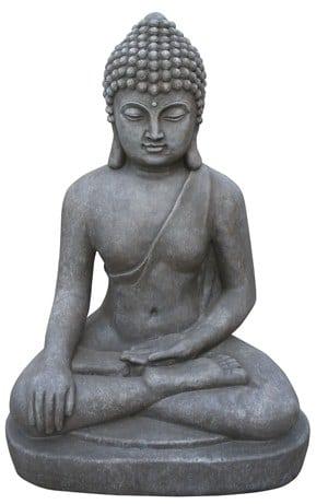 Boeddha Beeld Beton.Zittende Boeddha Grijs Zwart Gerichtekeuze