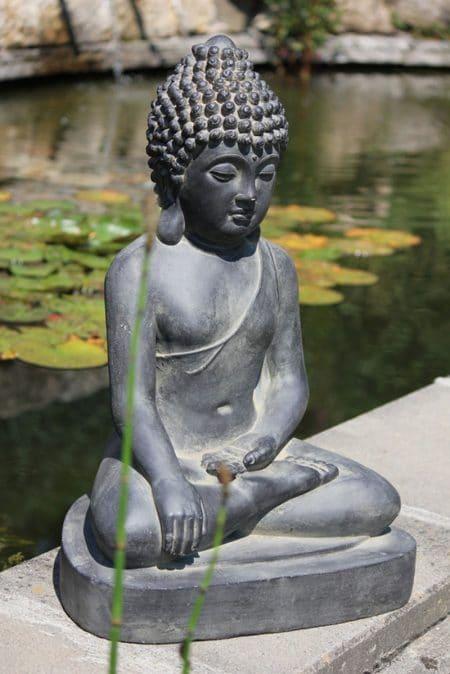 Zittende Boeddha grijs zwart