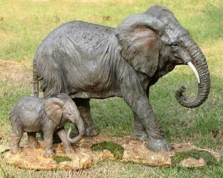 Beeld Olifant met jong