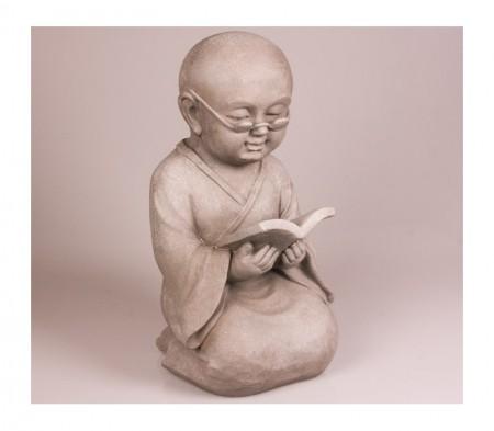 Shaolin met boek tuinbeeld fiberclay