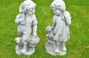 Tuinbeeld kinderen met hond fiberclay