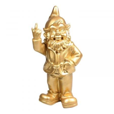 Kabouter middelvinger goud 31 centimeter
