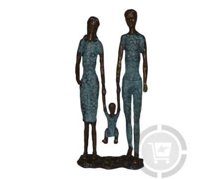Bronzen beeld moderne familie