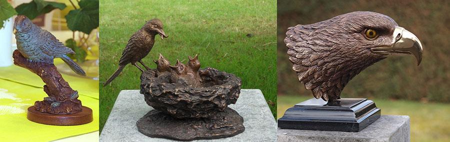 Bronzen vogels voor in de tuin kopen als tuinbeeld for Decoratie vlinders voor in de tuin