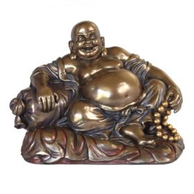 Happy Boeddha brons 18cm