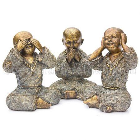 Shoalin monnik brons Horen Zien Zwijgen