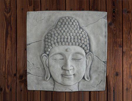 wandplaat boeddha hoofd