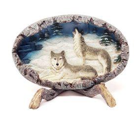 Wandplaat wolven