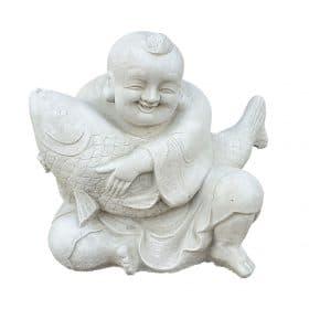 vrolijke boeddha met vis