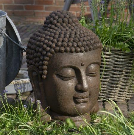boeddhahoofd-tuinbeeld-roestkleur