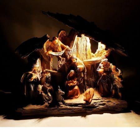 kerststalletje met led verlichting 20cm