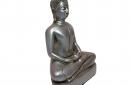 Boeddha zilver in lotushouding 17cm