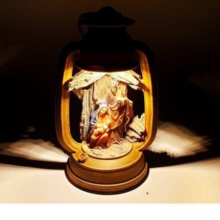 kerststal figuren Maria Jozef en Jezus met led verlichting 22cm
