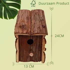 Duurzaam Vogelhuisje Sparrenhout opening van 32 mm