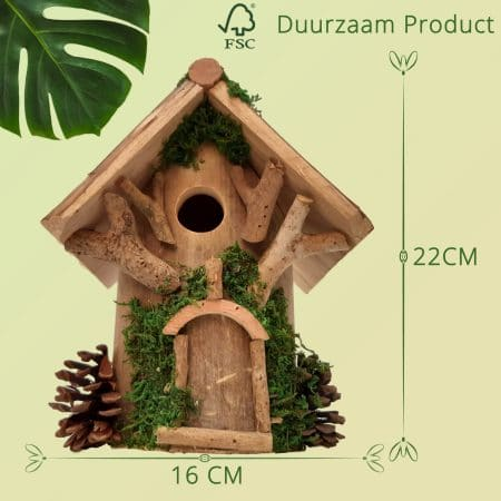 Vogelhuisje duurzaam opening 27mm groene details